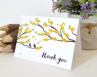 Printed thank you cards for wedding, bridal shower, engagement party | Love birds on cherry tree thank you cards | Yellow flowers