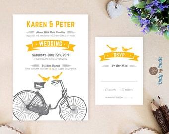Rustic Wedding Invitations and RSVP cards | Printed invitations | Bicycle and birds wedding invitations | Cheap Wedding invitations custom