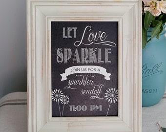 Instant Download - Chalkboard SPARKLERS Sign - DIY, Wedding reception, Vintage Wedding Sign, Chalkboard Let Love Sparkle Sign
