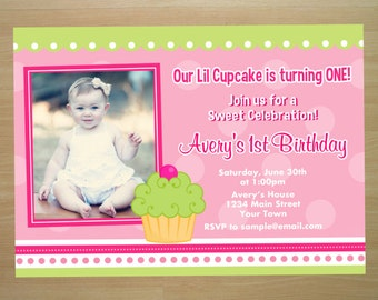 Cupcake 1st Birthday Invitation - Digital File (Printing Services Available)