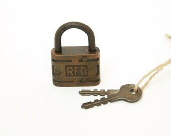 Vintage Slaymaker Brass R.F.D. Padlock with key
