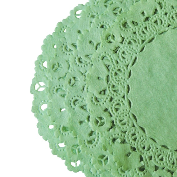 ... Doily  Light Green Colored  Old Paper Cat by DoilyShop.com  Catch