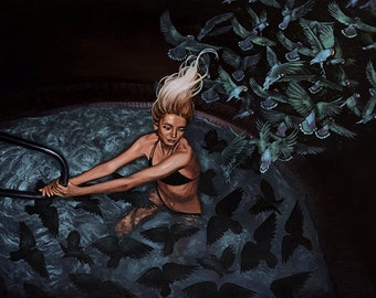 Girl in Pool Water Summer Nocturne Painting Woman With Long Platinum Hair and Lovebirds Fine Art Print 8x10 inches