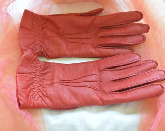 Vintage Leather Gloves - Red, Cashmere, Scotland - Gorgeous!