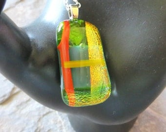 Necklace, pendant necklace, dicrotic glass necklace, orange, green and yellow necklace,  silver necklace