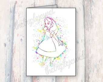 Alice In Wonderland, Note Cards, Geekery, Nerd, Splatter, Watercolor, Greting Cards, Mad Hatter, Gift Card, Christmas Cards, Fangirl