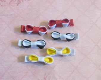Kanzashi Mini Bows, Red,White,Black, Yellow
