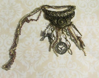 Steampunk Charm Necklace, Charm Necklace