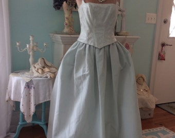 Vintage Ball Gown Woodland Fairytale Jessica McClintock for Gunne Sax Romantic Silvery Mint Fantasy Renissance Steampunk