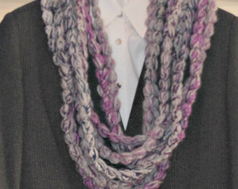 Chunky scarf. Pompom Infinity winter cowl. Crochet Beads scarf. Neckwarmer. Grey, lavender loop scarf, Fashion Scarf,  gift for her