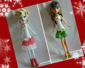 Holiday Lot DRESSES and JEWELRY Sets for Monster High dolls - handmade doll clothes by DOLLS4EMMA