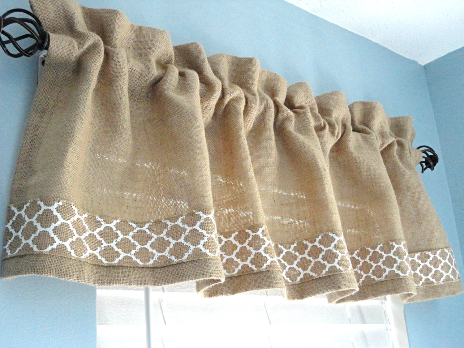 Burlap Valances For Windows : Burlap valance window housewares treatment