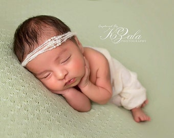 Newborn Headband Photography Prop-Mohair & Pearl Halo Tie Back-Baby Photo Prop-Tie Back Headband-Baby Girl Photo Prop-Baby Picture Prop