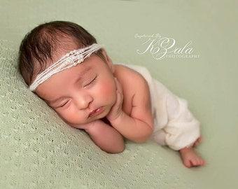 Newborn Headband Photography Prop-Mohair & Pearl Halo Tie Back-Baby Photo Prop-Tie Back Headband-Baby Girl Photo Prop-Baby Picture Prop