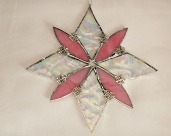 Stained Glass Pink Snowflake Suncatcher