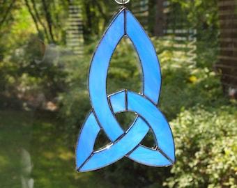 Stained Glass Blue Celtic Knot Suncatcher