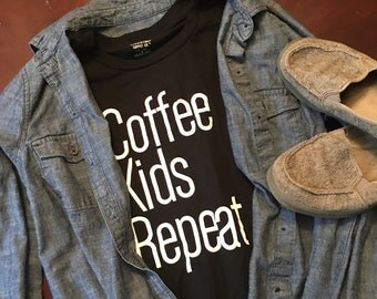 Coffee Kids Repeat Womans Long Sleeve