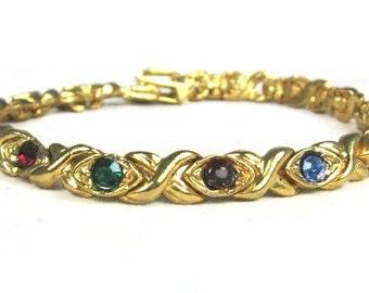 Multicolor CZ Tennis Bracelet Vintage
