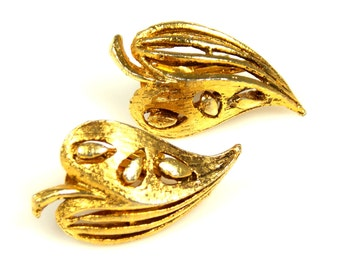 Vintage Leaf Heart Earrings 1960s Gold Tone