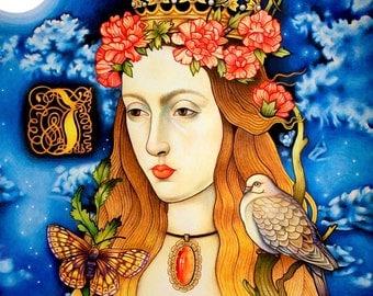 Queen Art Queen Print Queen Illustration Fine Art Print Archival Print Johanna of Castile Whimsical Historical Royalty Crown Spain Fantasy