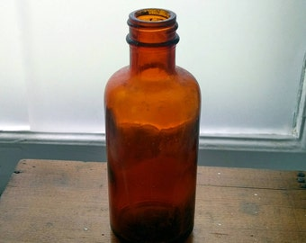 Antique Apothecary Bottle,  Amber Glass
