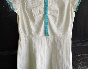 Vintage Cream and Turquoise Pin-Tuck Dress