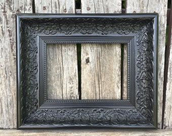 Black Ornate 5x7 Picture Frame,Chunky, Wedding Frame,Wide Chunky Frame,Glass and Backings,Wedding Frame,Not distressed #1556(Los Angeles)