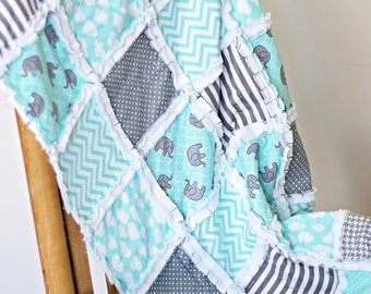 Mint green and grey Elephants boy's crib rag quilt