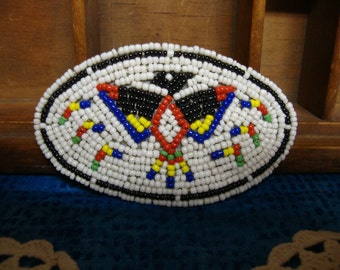 Beaded Thunderbird Hair Barrette