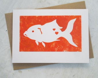 Hand painted Goldfish card, eco-friendly, recycled card, original illustration