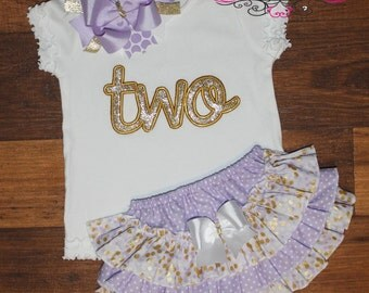 Gold and Lavender Ruffle Butt Bloomers Outfit
