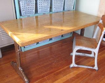 School Desk, Maple wood table, American Seating, Mid Century