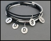 Personalized INITIAL Leather Bangle - Double Single SILVER Tube Genuine Leather Cord - Boho Bangle Stackable Bracelet - USA