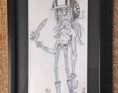8-Ball Biker Original Framed Drawing