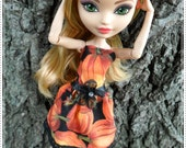 "Stylish ""Pumpkin Spice!!"" Dress Dress ONLY Fits Monster or Ever After Dolls Designer Ooak Doll High Fashions Mh / Eah Custom Clothes"