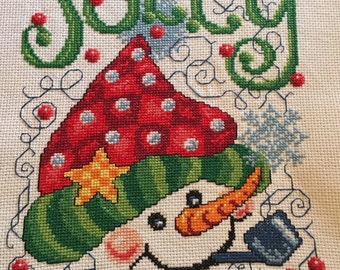 Jolly Christmas completed cross stitch