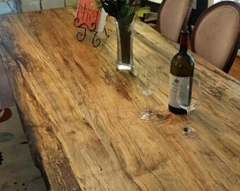 The Pollock Table- Hardwood Spalted Maple Table with wood and metal Trestle Base