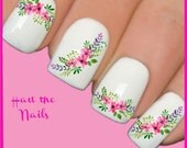 Nails Nail Art Water Transfers Decals Wraps Bouquet Flowers Peony Tea Rose Y128