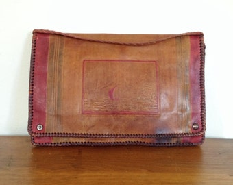 vintage clutch / leather bag / novelty purse / ethnic purse / north african envelope clutch