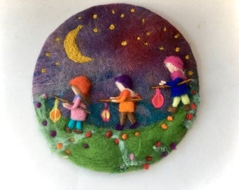 Lantern Walk, Picture,tapestry,Wet felted,Needle Felted. Waldorf,Wall hanging.