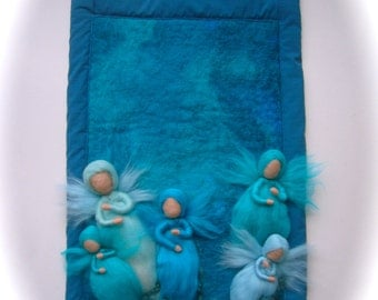 Fairies,Elfs,Wool Picture,tapestry,Wall hanging,felted. Waldorf.turquoise,blue