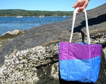 PURPLE and BLUE  Sail Tote from Recycled Sail: SailAgainBags and Totes