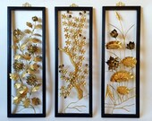 Vintage Asian Metal Floral Wall Art, Set of 3