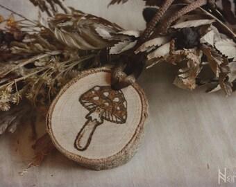 Mushroom wood pendant