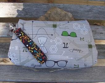 Nerd Geek Science Wristlet - Clutch Handbag Purse - Physics Chemistry Math Geometry Atom- Swoon Coraline
