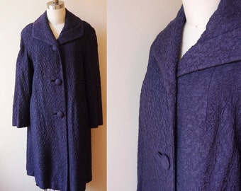 1950s blue swing coat // navy blue coat // vintage coat