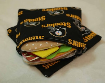 One Sandwich Bag, Reusable Lunch Bags, Waste-Free Lunch, Machine Washable, Steelers, Sandwich Sacks, item #SS96