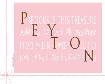 Girl Gifts Baby Shower Gifts Baby Gifts Nursery Decor Name Gifts For Girls Unique Baby Name Gifts 1st Birthday Art, 8x10, Peyton