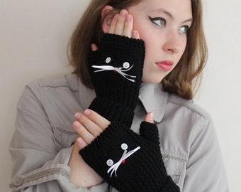 CAT GLOVES! Valentines Day Gift, Black cat gloves.  Hand warmers. Cat gloves, Black gloves, fingerless gloves  .  Ready to shipping.