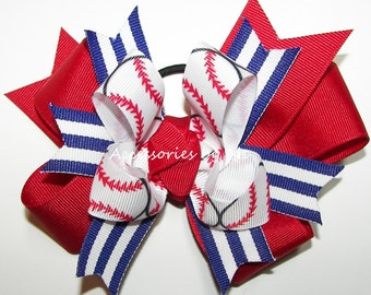 Baseball Hair Bow, Patriotic Hairbow, Red Royal Blue Ponytail Holder Ribbons, Cheer Team Mom Spirit, Softball Bows, Custom Color, Bundle Lot